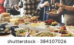 buffet dinner restaurant... | Shutterstock . vector #384107026