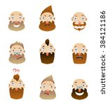 cartoon head  hipster set of... | Shutterstock .eps vector #384121186