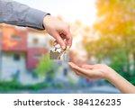 key home buy sale hand business ... | Shutterstock . vector #384126235