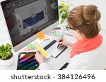 graphic designer at work. color ... | Shutterstock . vector #384126496