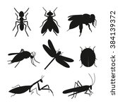 insects silhouette vector set.... | Shutterstock .eps vector #384139372