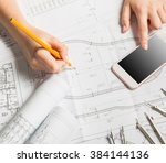 designer hands working with... | Shutterstock . vector #384144136