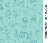 seamless istanbul landmarks... | Shutterstock .eps vector #384157036