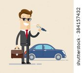 businessman or manager  is... | Shutterstock .eps vector #384157432