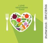 i love vegetarian food   vector ... | Shutterstock .eps vector #384158566