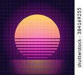 80s retro sci fi sunset... | Shutterstock .eps vector #384169255
