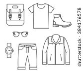 men's fashion icons set. vector ... | Shutterstock .eps vector #384176578