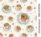seamless turkish coffee love... | Shutterstock .eps vector #384193096