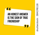 vector quote. an honest answer... | Shutterstock .eps vector #384198118