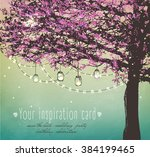 beautiful pink tree with... | Shutterstock .eps vector #384199465