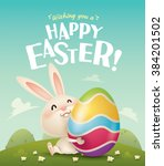 happy easter  easter bunny and... | Shutterstock .eps vector #384201502