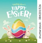 happy easter  easter bunnies... | Shutterstock .eps vector #384201526