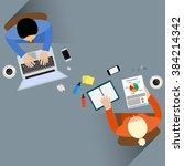 staff around table report... | Shutterstock . vector #384214342