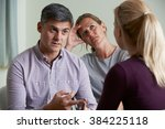 couple discussing problems with ... | Shutterstock . vector #384225118