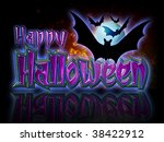 happy halloween lettering and...   Shutterstock . vector #38422912