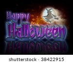 happy halloween lettering and...   Shutterstock . vector #38422915