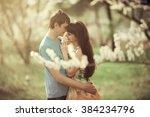 romantic date in spring garden... | Shutterstock . vector #384234796