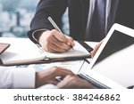 business adviser analyzing... | Shutterstock . vector #384246862