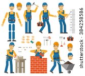 worker in various poses.... | Shutterstock .eps vector #384258586