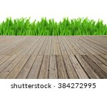 wooden planks and grass border... | Shutterstock . vector #384272995