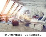 sunlight shining into modern... | Shutterstock . vector #384285862