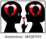 secret love between kids.... | Shutterstock . vector #384287992
