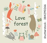 vector woodland illustration... | Shutterstock .eps vector #384290266