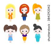 set of cute girls | Shutterstock .eps vector #384292042