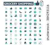 grocery shopping icons  | Shutterstock .eps vector #384293116