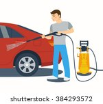 man washing a red car with high ... | Shutterstock .eps vector #384293572