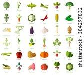 set of vegetable flat icons | Shutterstock .eps vector #384297832