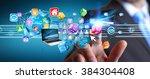 businessman connecting tech... | Shutterstock . vector #384304408