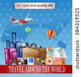 vintage travel equipment design | Shutterstock . vector #384319525