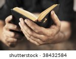 dirty hands holding an old... | Shutterstock . vector #38432584