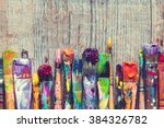 Row Of Artist Paint Brushes...