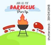 bbq party invitation | Shutterstock .eps vector #384341848