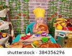 adorable baby cooking in... | Shutterstock . vector #384356296