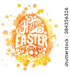 hand sketched happy easter text ... | Shutterstock .eps vector #384356326