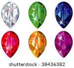 pear cut precious stones with... | Shutterstock .eps vector #38436382
