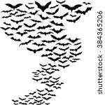 bats flying around simple... | Shutterstock .eps vector #384365206