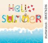 vector lettering hello summer... | Shutterstock .eps vector #384376246