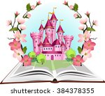 princess tale book in flowering ... | Shutterstock .eps vector #384378355
