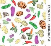 seamless pattern of vegetables | Shutterstock .eps vector #384378736