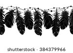 seamless feathers on a string... | Shutterstock .eps vector #384379966
