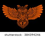 technological owl with spread... | Shutterstock .eps vector #384394246