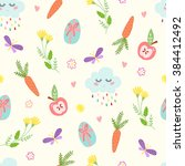 cute easter seamless pattern.... | Shutterstock .eps vector #384412492