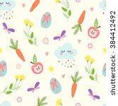 cute easter seamless pattern....   Shutterstock .eps vector #384412492