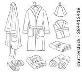 sauna accessories sketch. hand... | Shutterstock .eps vector #384413416