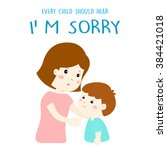 mother gently tell her son i'm... | Shutterstock .eps vector #384421018