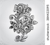 decorative flower in an ornament | Shutterstock .eps vector #384422095